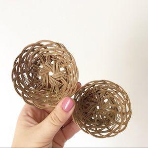 Small Set of Wicker Wall Baskets Boho Decor